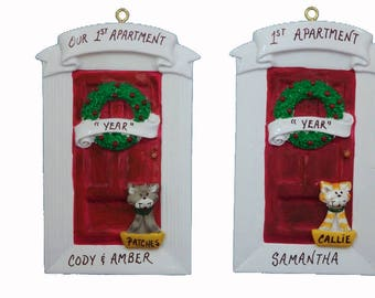 Personalized 1st Apartment Ornament With Cat Or Dog