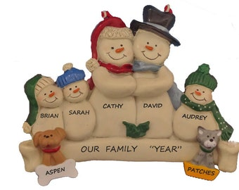 Family of 5 Personalized Snow Family Christmas Ornament with 2 Dogs or Cats Added  - Family of 5 Personalized Ornament with 2 Custom Pets