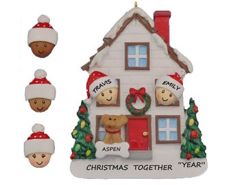 personalized couple house christmas ornament with dog or cat custom couple ornament you pick african american biracial same sex couples - African Christmas