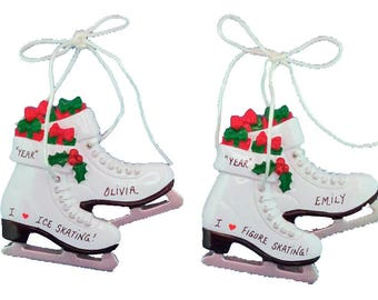ice figure skates personalized ornament personalized ice skate ornament ice skating ornament personalized gift - Ice Skate Christmas Decoration
