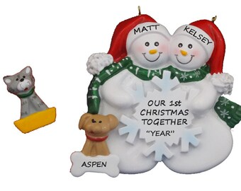1st Christmas Together Snow Couple Snowflake Christmas Ornament with Custom Dog or Cat Added - Couple Snow Ornament with Dog or Cat Added