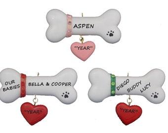 Dog Bone Personalized Christmas Ornament - Pink Glitter Collar Dog Bone Ornament - Red Dog Bone Ornament - Green Dog Bone Ornament