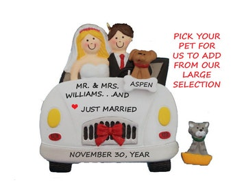 Personalized Just Married Wedding Car Christmas Ornament With Dog or Cat -Wedding Couple Christmas Ornament-First Married Christmas with Pet