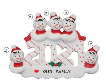 Personalized Family of 5 Dated 2021 Ornament-Family of 5 Personalized Christmas Ornament-Snowman Family of Five Personalized Ornament