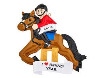 Equestrian Horse Rider Personalized Ornament - Competition Equestrian Horse Rider Christmas Ornament - Love Riding My Horse