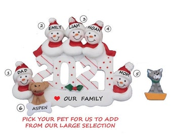Snow Family of 5 with Dog or Cat Added 2021 Personalized Ornament - Family of 5 Personalized Christmas Ornament with Custom Pet Added