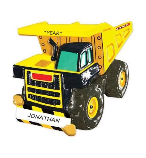 DUMP TRUCK ORNAMENT Dump Truck D\u00e9cor Vehicle Ornaments Handmade Ornaments Truck Ornament Big Wheels Ornament