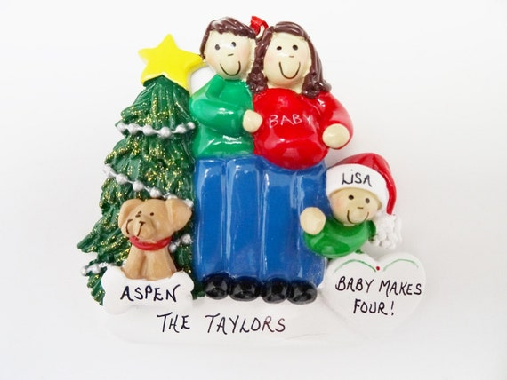 Expecting Family Of 3 With Dog Or Cat Personalized Christmas Etsy
