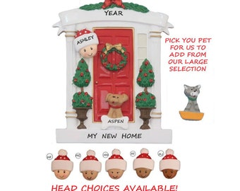 Single Person Front Door Home Personalized Ornament with  Dog or Cat- My New Home Personalized Ornament With Pet - Ethnic, Multi-Racial