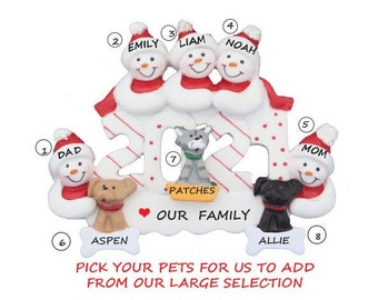 2021 Snow Family of 5 Personalized Ornament with 3 Dogs-Snow Family 5 Personalized Ornament 3 Cats-Personalized Family of 5 with Cats & Dogs