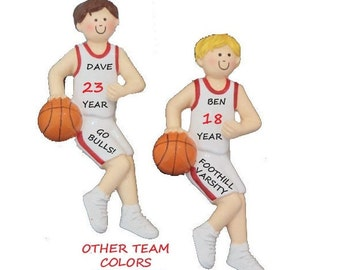 Personalized Male Basketball Player Ornament - Boy Basketball Player Ornament with Red - Blue or Green Team Uniform