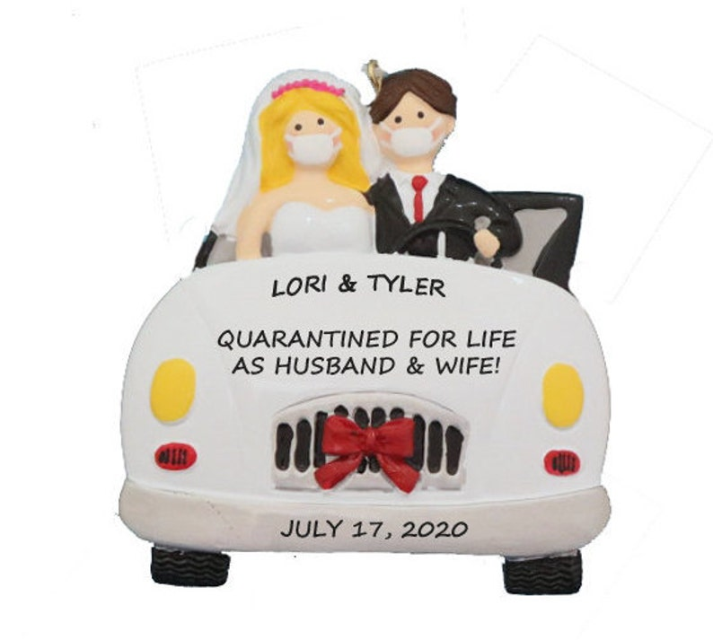 Bride and Groom Personalized Ornament Married During Quarantine Quarantine Wedding Christmas Ornament Wedding Newlywed Couple with Masks