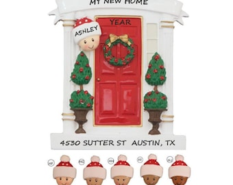 Single Person Front Door Personalized Ornament- My First Home Personalized Christmas Ornament - Ethnic Multi-Racial New Home Ornament