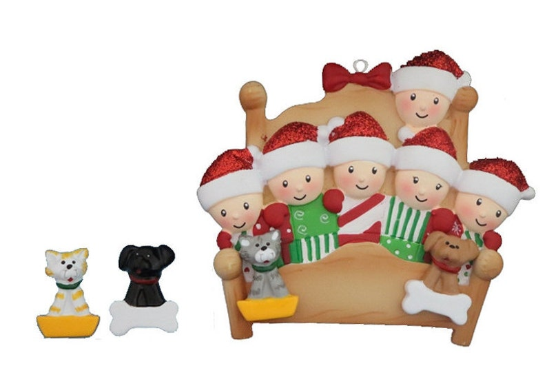 Family Six with 2 Pets-Hand Personalized Personalized Family 6 Snuggled in Bed with 2 Dogs or Cats Added Personalized Christmas Ornament
