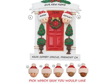 Couple in New Home Front Door Personalized Ornament-First Home Personalized Christmas Ornament - Ethnic Multi-Racial New Home Ornament