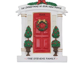Front Door Personalized Ornament - 1st Christmas in New Home Red Front Door Christmas Ornament