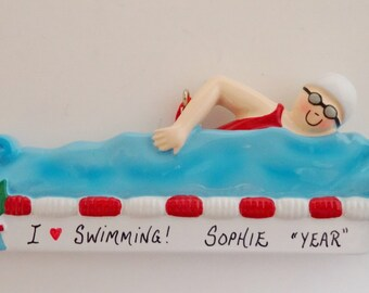 Personalized Swimming Ornament for Girl or Boy - Custom Personalized Swimming Ornament