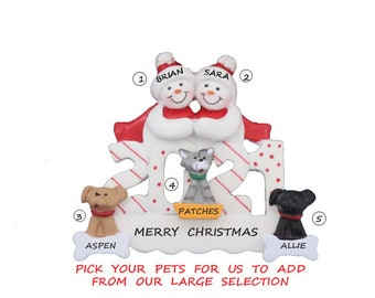 2021 Personalized Ornament Snow Couple With 3 Dogs, Cats or Bunnies Added - 2021  2 Snowman Ornament with custom 3 Pets Added