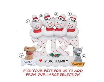 2021 Snow Family of 4 Personalized Ornament with 2 Dogs-Snow Family 4 Personalized Ornament 2 Cats-Personalized Family of 4 with Cats & Dogs