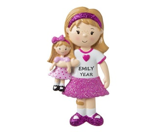 Young Girl with her doll Personalized Ornament- Toddler with her doll Ornament- Girl that loves her doll Personalized Christmas Ornament