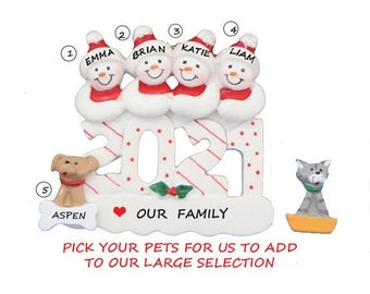 Snow Family of 4 with Dog or Cat Added 2021 Personalized Ornament - Family of 4 Personalized Christmas Ornament with Custom Pet Added