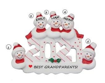 2021 Best Grandparents Personalized Ornament - Love My Grandparents Personalized Christmas Ornament - Nana & Papa Ornament - 3 Grandchildren