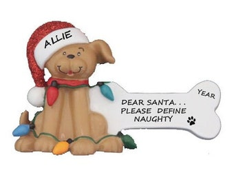 Personalized Dog Ornament - New Dog Personalized Christmas Ornament - Dog with Santa Hat and Bone Ornament