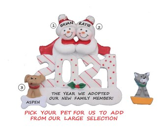 Personalized Ornament Snow Couple Adopted New Dog or Cat in 2021 - 2021  2 Snowman Ornament with custom Pet Added