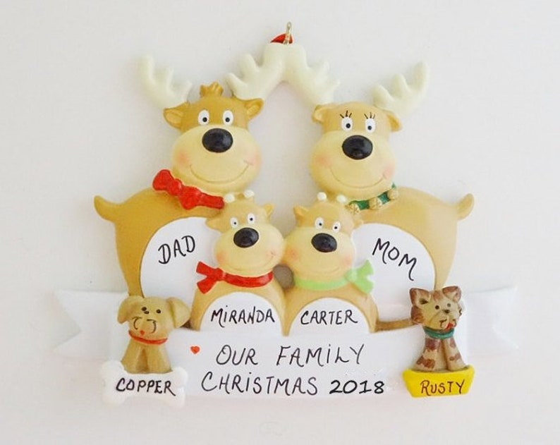 Personalized Family of 4 Reindeer Ornament with 2 Custom Dogs or Cats Added Family of 4 Christmas Ornament with 2 Custom Pets Added