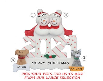 2021 Personalized Ornament Snow Couple With 2 Dogs, Cats or Bunnies Added - 2021  2 Snowman Ornament with custom 2 Pets Added
