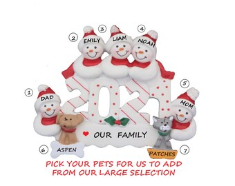 2021 Snow Family of 5 Personalized Ornament with 2 Dogs-Snow Family 5 Personalized Ornament 2 Cats-Personalized Family of 5 with Cats & Dogs