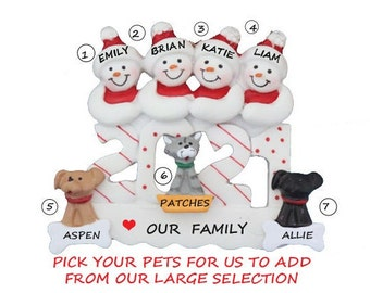 2021 Snow Family of 4 Personalized Ornament with 3 Dogs-Snow Family 4 Personalized Ornament 3 Cats-Personalized Family of 4 with Cats & Dogs