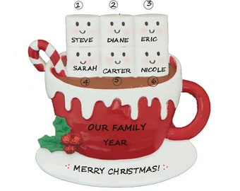 Marshmallow  Family  of 6 Personalized Ornament -  Personalized Family Six Christmas Ornament
