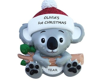 Baby's 1st Christmas Personalized Baby Koala Bear Ornament - Baby Girl's or Boy's 1st Christmas Ornament - Baby's First Christmas Ornament