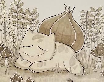 Resting Bulbasaur - Medium Print