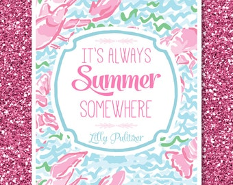 Lilly Pulitzer Inspired Printable | It's Always Summer Somewhere | Lobstah Roll Print | Preppy | Instant Download | Digital Print | 8x10