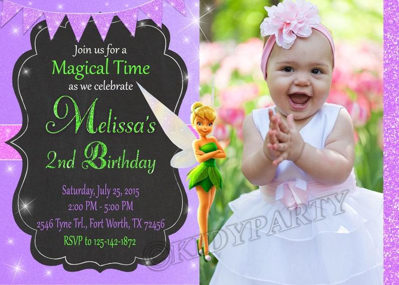 Disney Tinkerbell Invitation Disney Tinker Bell Invitation Etsy