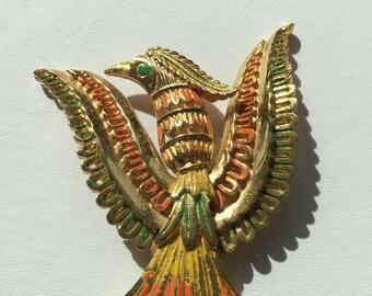 Vendome Phoenix Brooch, Vendome Figural, Vendome Bird, Vendome Gold Phoenix Brooch