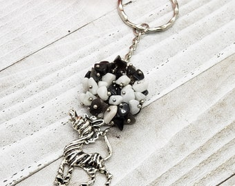 Zebra Keychain with Black Agate and White Argonite Clusters, Key Fob