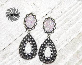 Black Crystal Filigree Earrings with Rhinestones