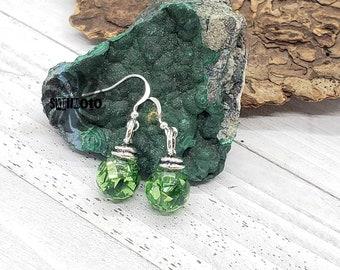Green Christmas Ornament Earrings