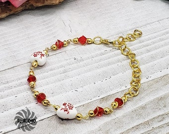 Romantic Silk Floral Glass Heart Wire Wrapped Bracelet