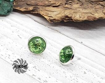 Green Flake Glitter Silver Post Earrings
