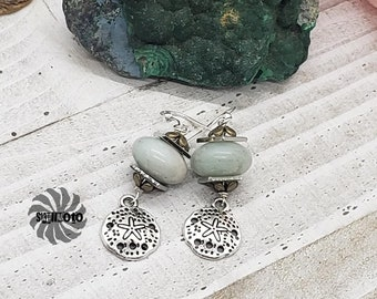 Amazonite wire wrapped earrings with silver/bronze spacers and silver sand dollar charms