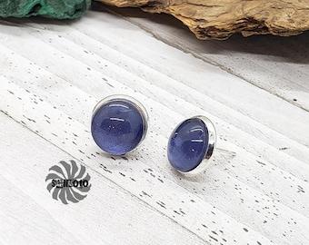 Blue Cat's Eye Glitter Silver Post Earrings