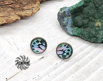Butterfly Wing Pattern Bronze Post Earrings