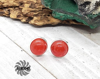 Red Micro Bead Silver Post Earrings