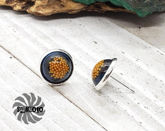 Gold Micro Bead Silver Post Earrings