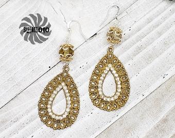 Yellow Crystal Filigree Earrings with Rhinestones