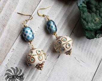 Greek Goddess Glass and Polymer Earrings